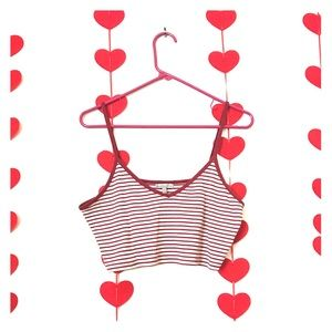 Charlotte Russe Red and White Striped Cropped Cami